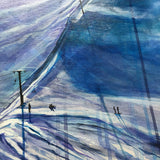 A large original landscape painting of the Horstman Glacier on Blackcomb Mountain in Whistler, BC. Blue, Purple, White, Black.