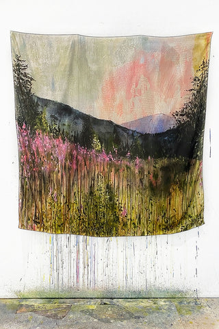 Oversize Fireweed At Dusk Silk Scarf