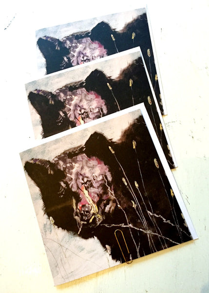 3 square greeting cards on recycled paper printed with a painting of a black bear.