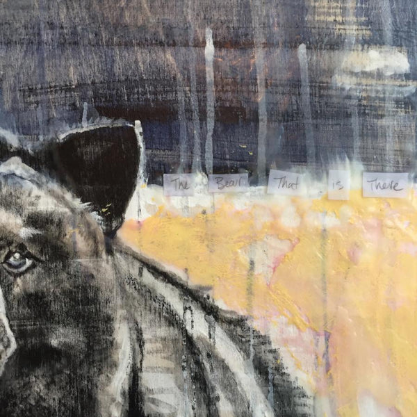 Mixed media painting of a black bear in Whistler, BC. Encaustic top coat. By Heidi Denessen