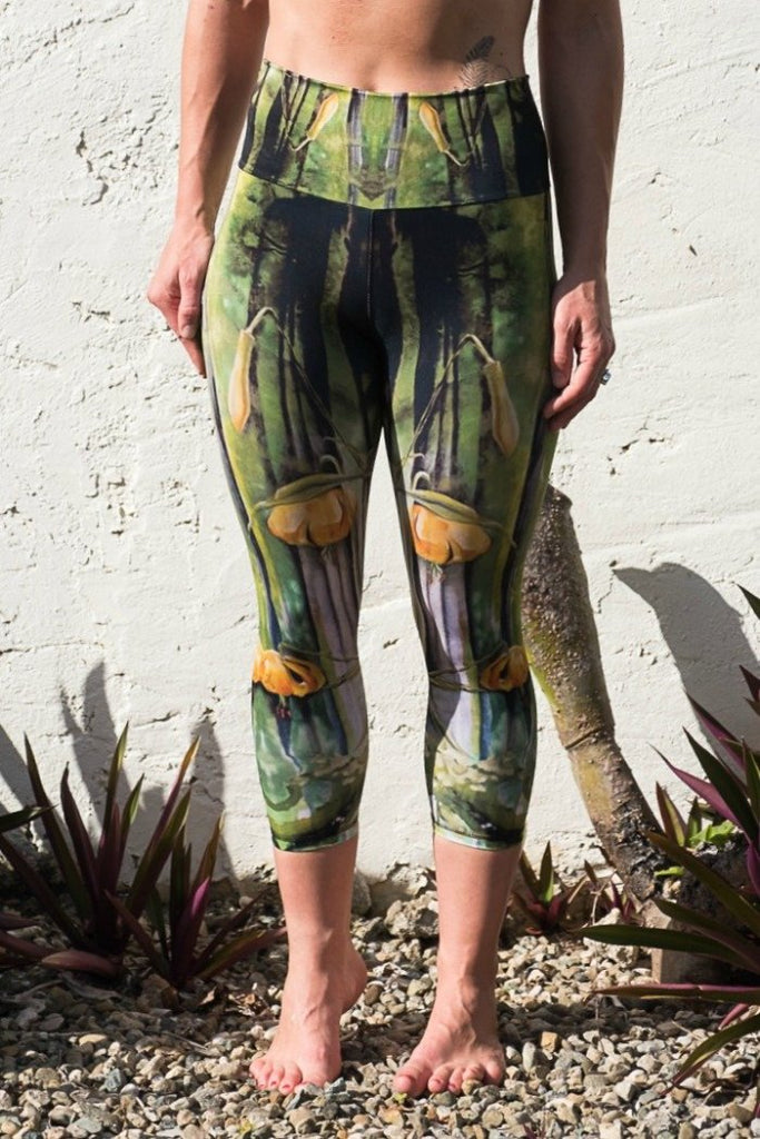 Recycled Made in Canada Leggings printed with the Tiger Lily painting by Heidi Denessen. From Whistler with Love.