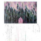 Pink Cabin In The Woods Art Print on Wood 12