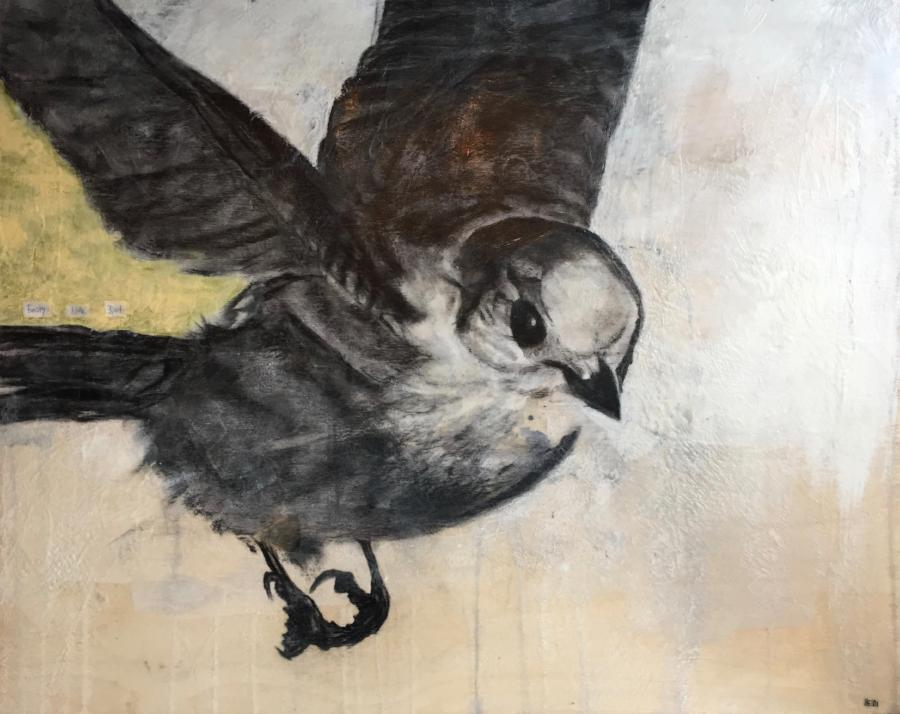 A mixed media painting of a Whiskey Jack bird in flight. Encaustic top coat. By Heidi Denessen