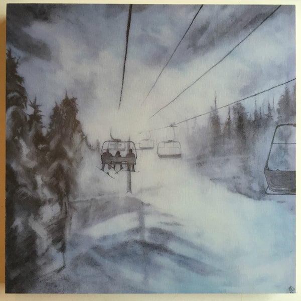 Chairlift Wood Print 12x12