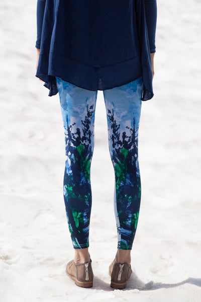 From yoga to running around town - these unique leggings bridge the gab between activewear and street style.  Printed with Heidi's painting of evergreen trees on a blustery day in Whistler, BC.