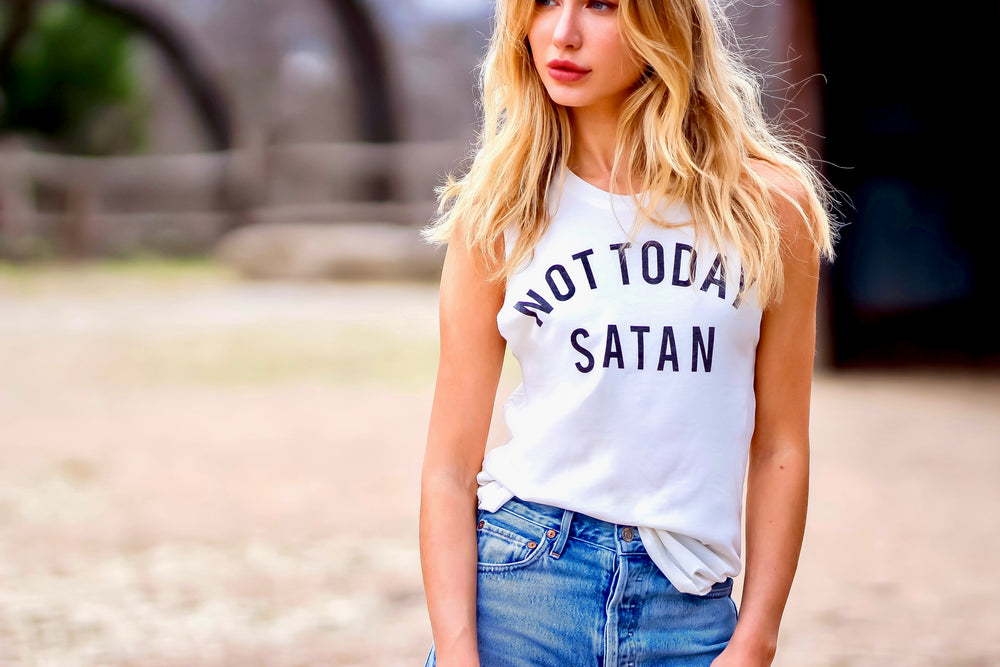 Not Today Satan Ivory Muscle Tank