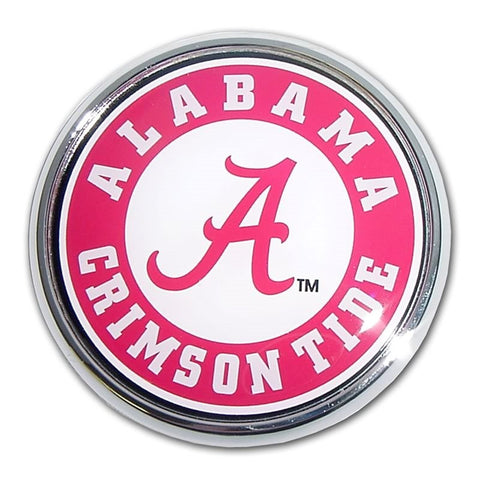 Alabama University Chrome Auto Emblem.  Officially Licensed product.