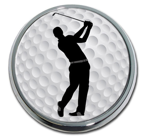 Male Swing Golf Chrome Auto Emblem