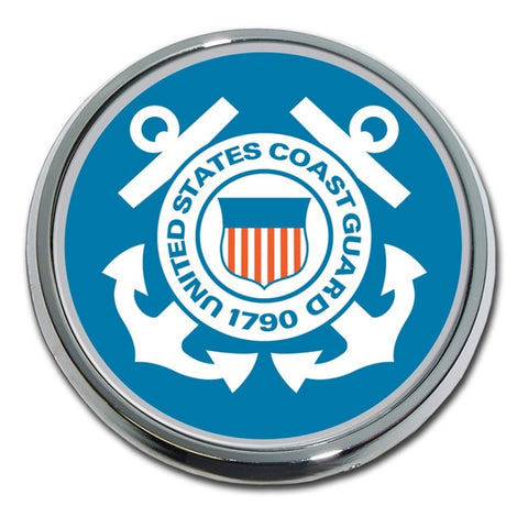 US Coast Guard Chrome Auto Emblem (Blue)