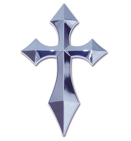 Pointed Christian Cross Chrome Auto Emblem