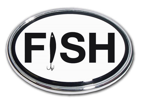 "Fishing Oval Chrome Auto Emblem (""FISH"" word)"