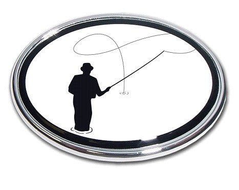 Fishing Oval Chrome Auto Emblem (Flyfishing)