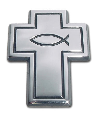 Christian Fish Cross Chrome Auto Emblem