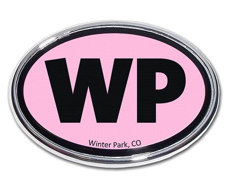 Winter Park Oval Chrome Auto Emblem (Pink)