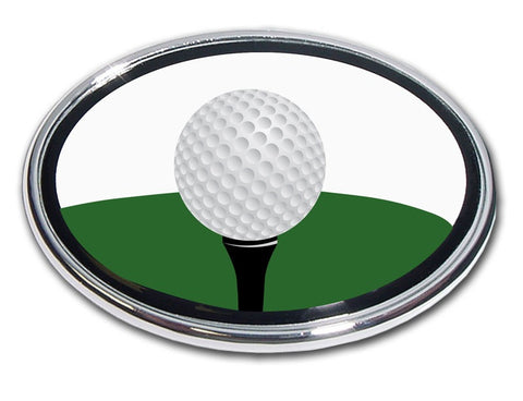Golf Ball on Tee Chrome Auto Emblem