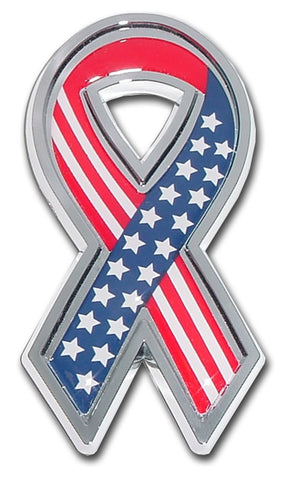 Stars and Stripes Ribbon Chrome Auto Emblem