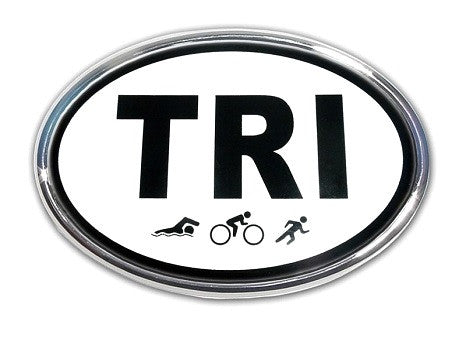TRI Oval Chrome Auto Emblem