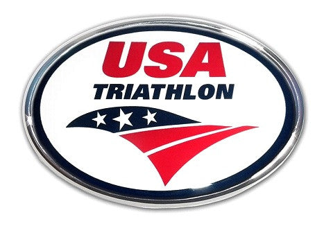 USA Triathlon Oval Chrome Auto Emblem