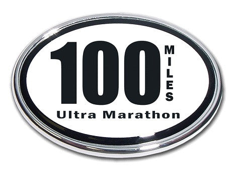 100 Mile Ultra Marathon Chrome Auto Emblem