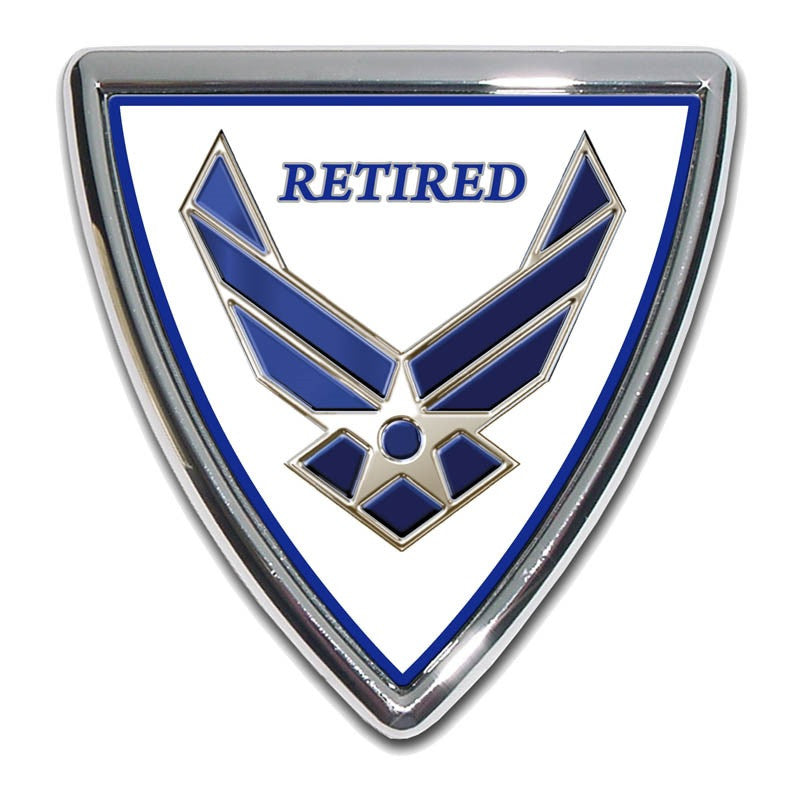 """Air Force Retired Metal Chrome License Plate Tag Frame /"""" MADE IN THE USA /"""""""