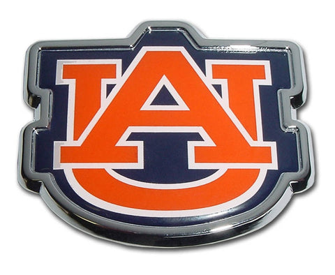 "Auburn University Chrome Auto Emblem (""AU"" Orange w/color)"
