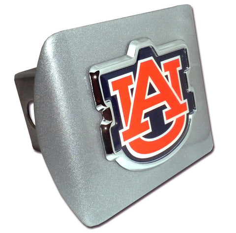 "Auburn University Orange ""AU"" Brushed Hitch Cover"