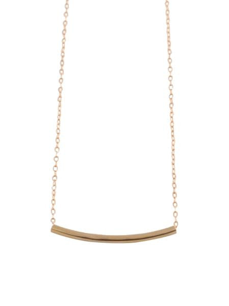 Chic Hammered Gold Tube Necklace