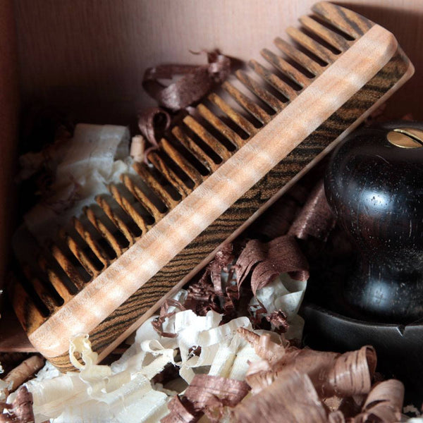 Combs - Hair Comb With Bocote & Curly Maple