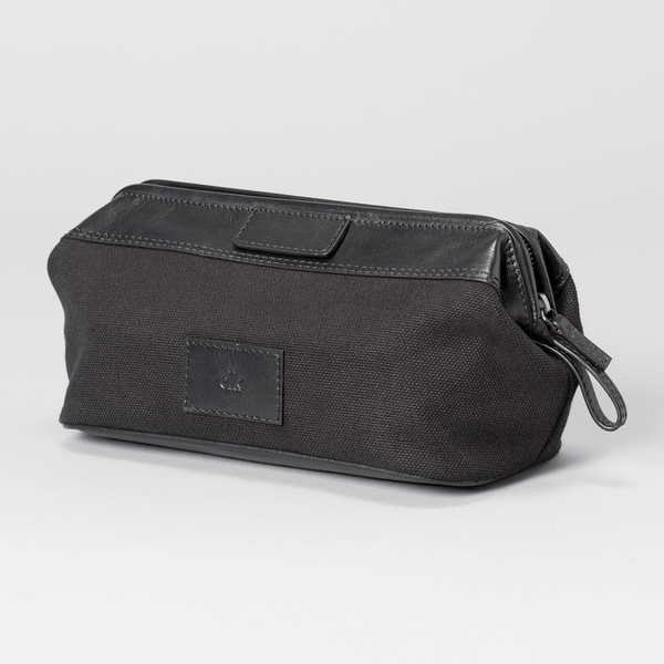 Toiletry Bag - Striga Men's Toiletry Bag - Black Canvas & Leather