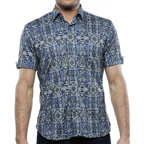 Blue, Yellow & Navy Short Sleeve with Jacquard Navy Shapes