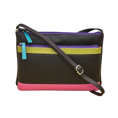 Double Zip Multi Crossbody Black Brights