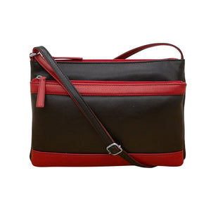 Double Zip Multi Crossbody In Black and Red