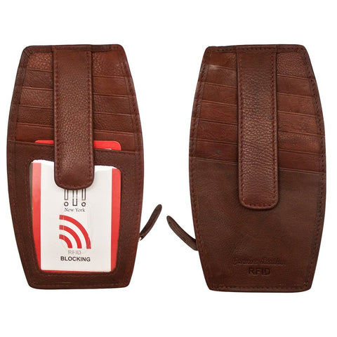 Card Holder with Zip Pocket Redwood