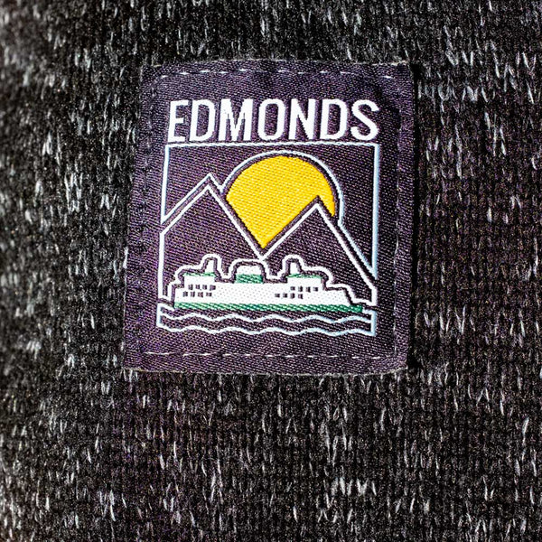 Black Knit Full Zip Jacket with Embroidered Edmonds Patch