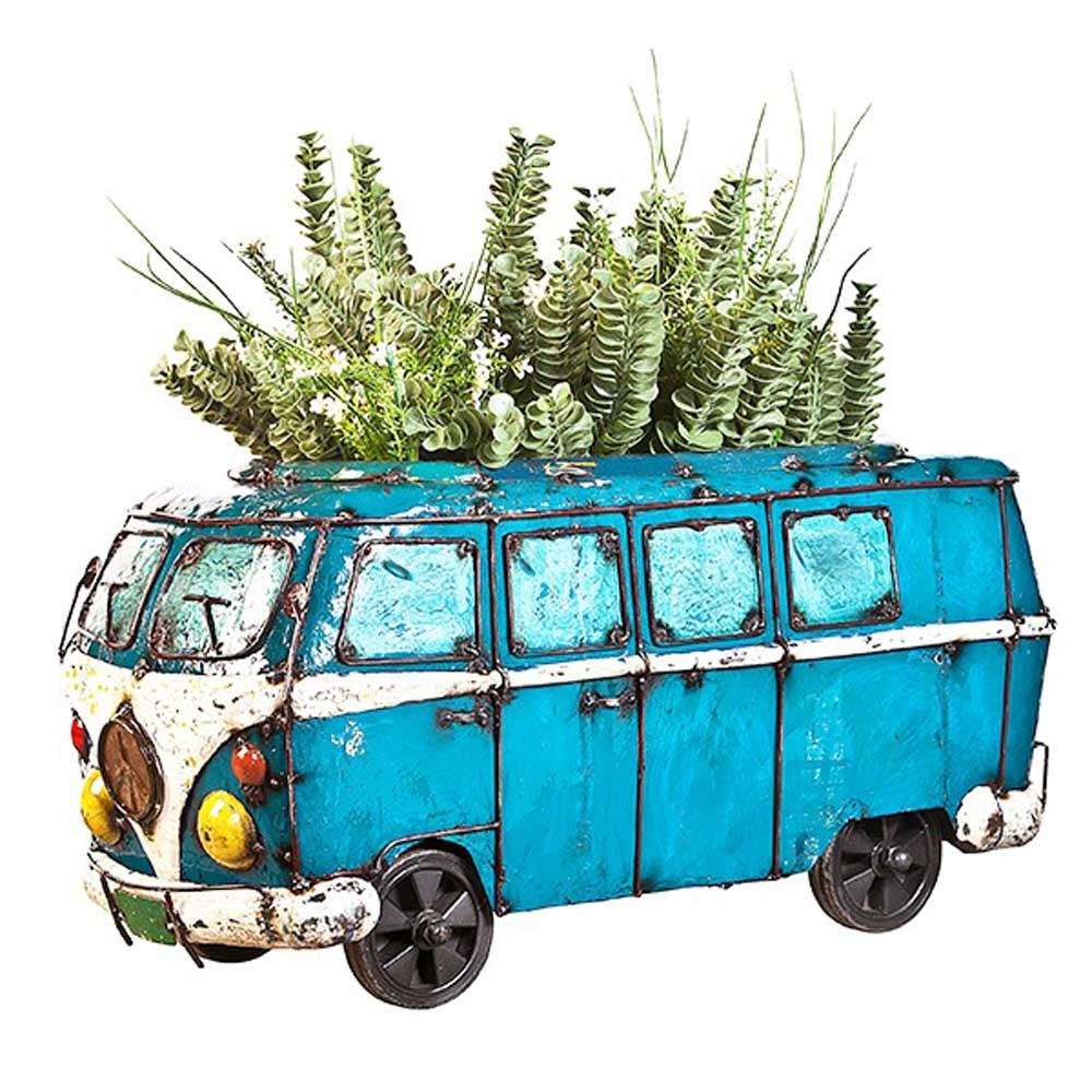 Blue VW Kombi Van Planter