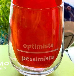 Optimista Pessimista Stemless 17oz Wineglass