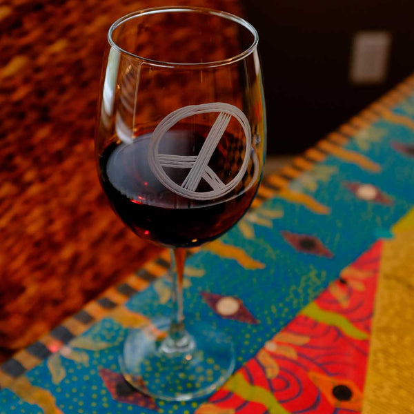 Peace Sign Stemmed 18oz Wine Glass
