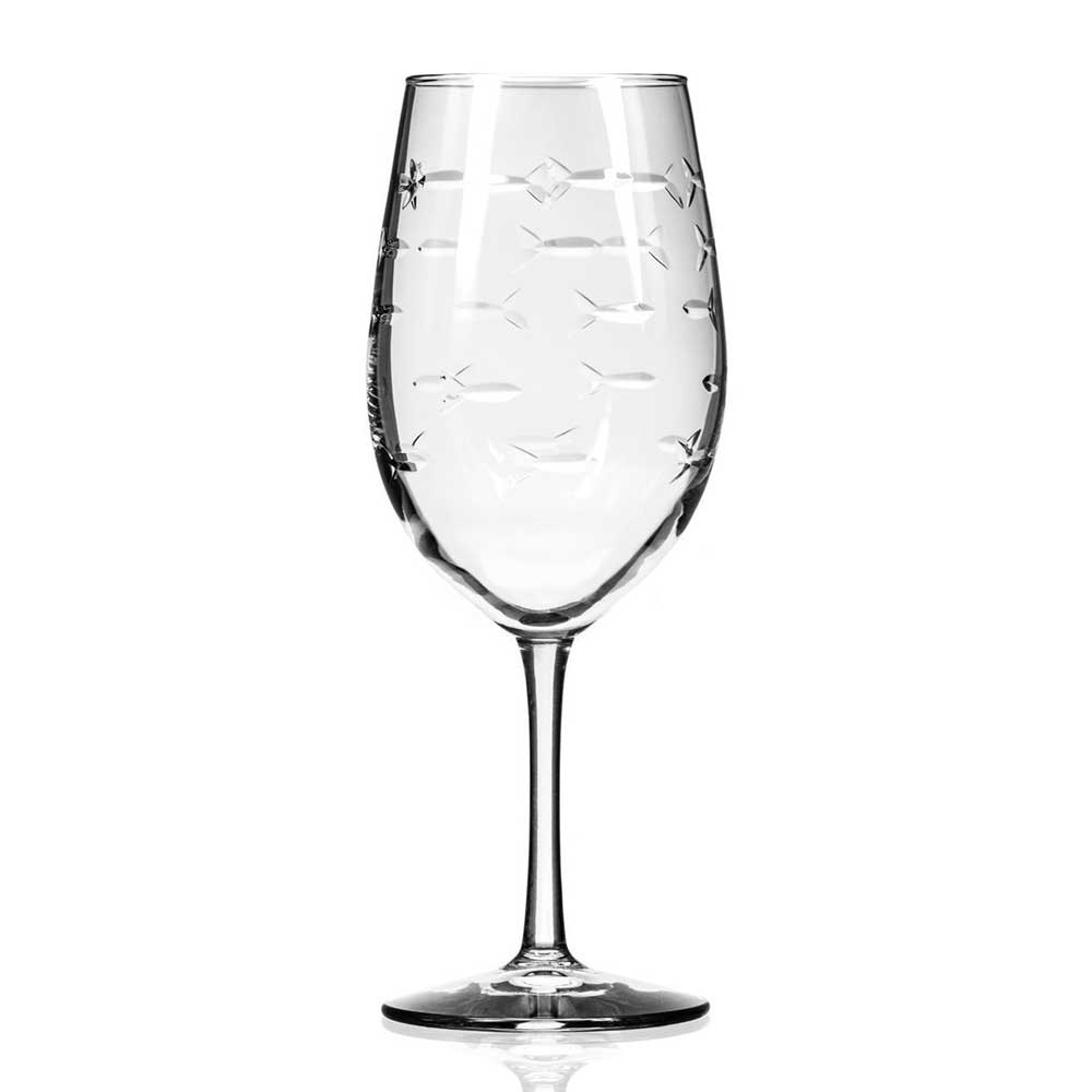 School of Fish Stemmed 18oz Wine Glass