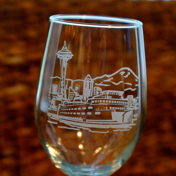PNW Skyline Stemmed 18oz Wine Glass