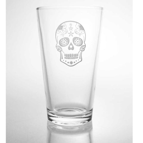 Sugar Skull Pint Glass 16oz