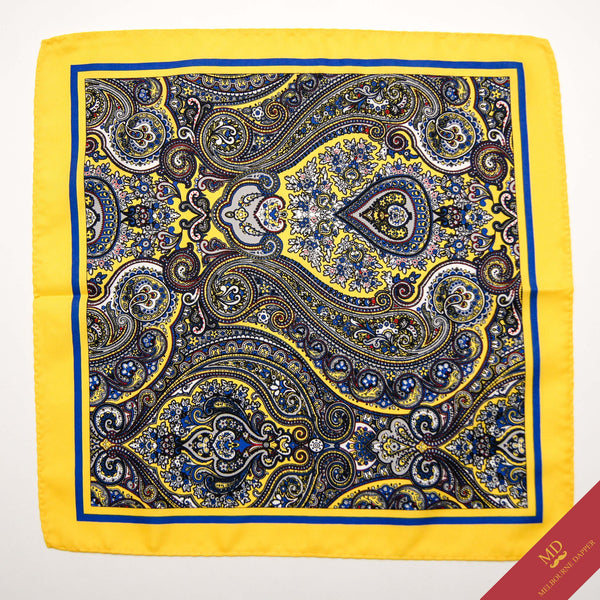 Paisley Pocket Square Yellow