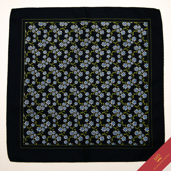 Floral Pocket Square Green Blue
