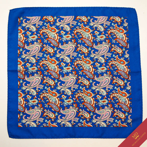 Paisley Pocket Square Blue