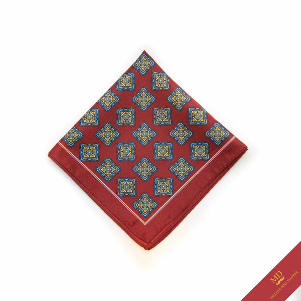 Geometric Pocket Square Red