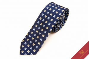 Blue Yellow Floral Silk Tie