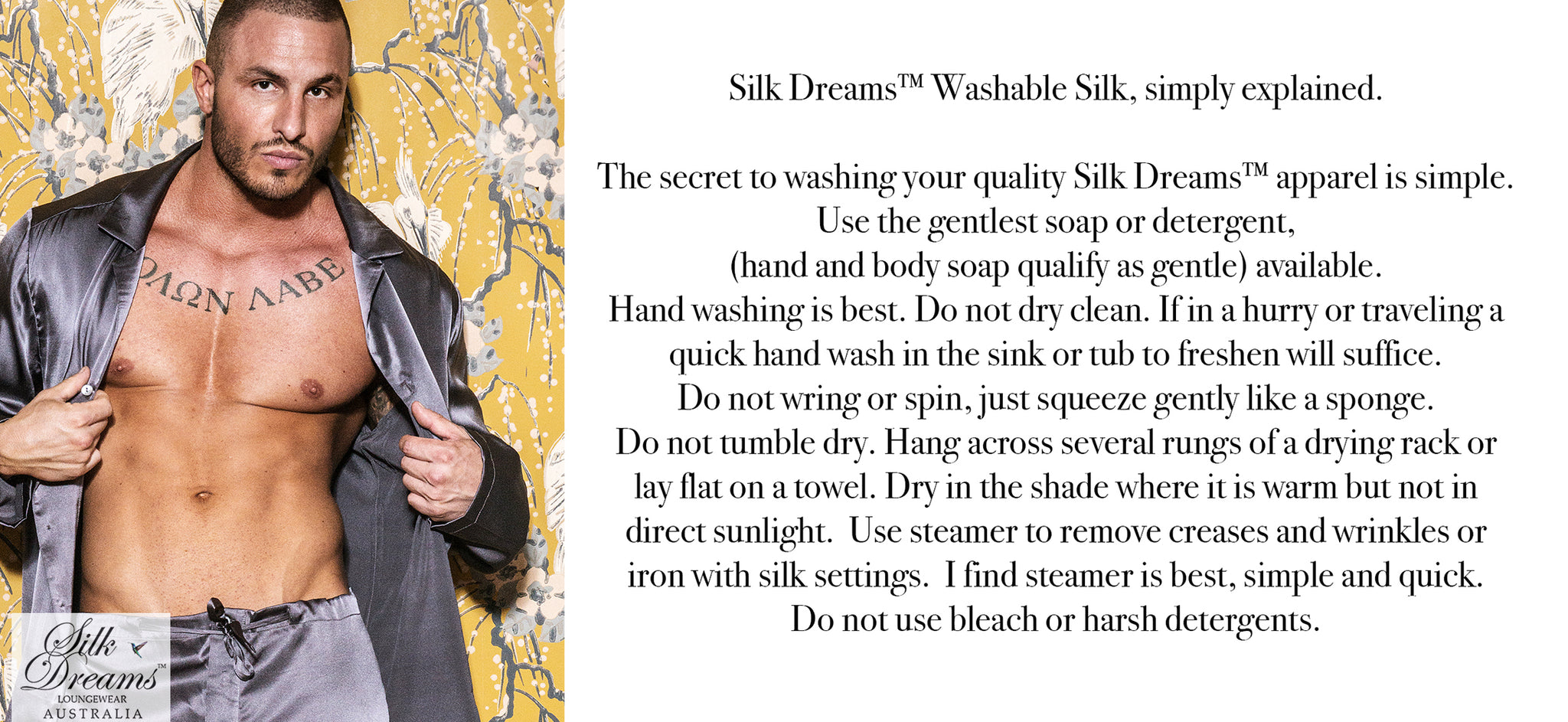 Care Instructions for Silk Dreams Loungewear By Kaliopi Eleni for Men