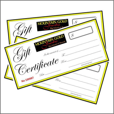 Mountain Gold Jewelers Gift Certificate