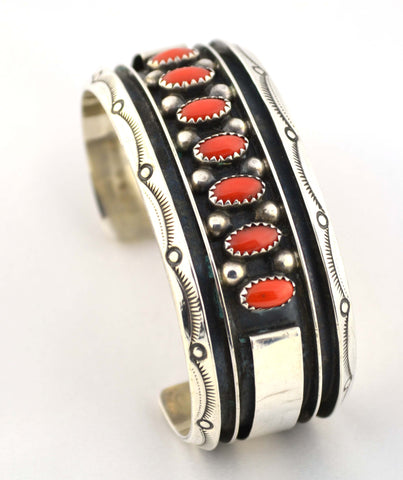 BR-129 Silver and Red Coral Bangle