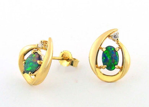 E-024 Opal & Diamond Earrings