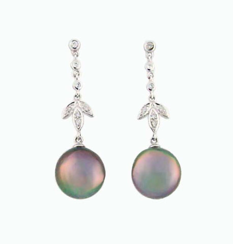 E-282 Tahitian Pearl & Diamond Earrings